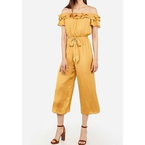 Express Satin Ruffle Off the Shoulder Jumpsuit